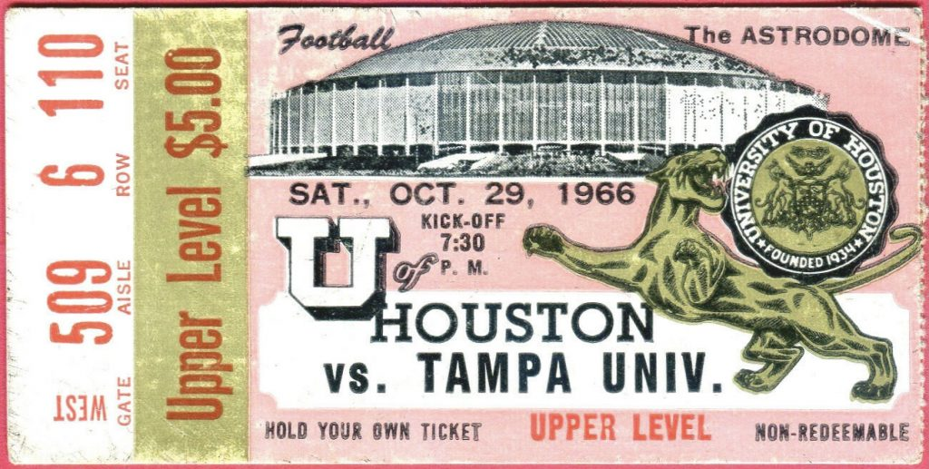 1966 NCAAF Houston Cougars ticket stub vs Tampa