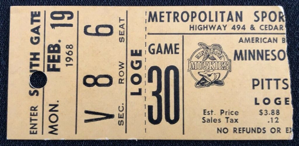 1968 ABA Minnesota Muskies ticket stub vs Pittsburgh