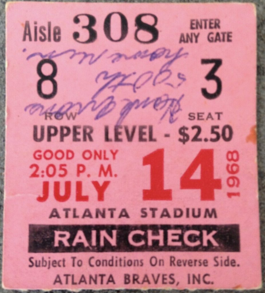 1968 Hank Aaron 500th Home Run Ticket Stub
