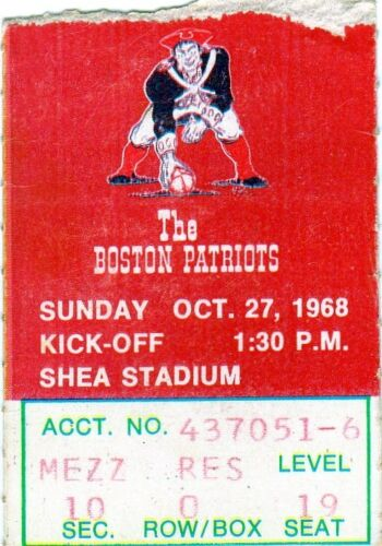 1968 New York Jets ticket stub vs Patriots