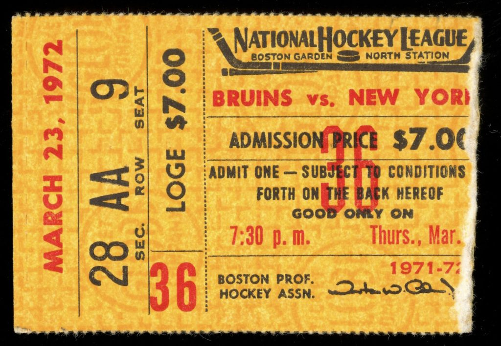1972 Boston Bruins ticket stub vs Rangers