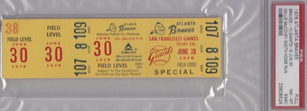 1978 Willie McCovey 500TH Home Run Full Ticket