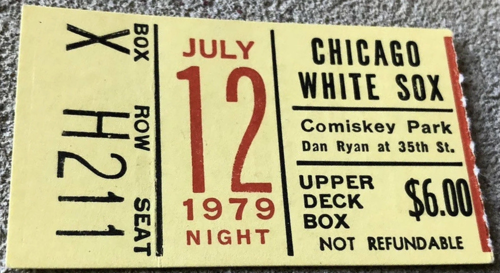 1979 Disco Demolition Night ticket stub