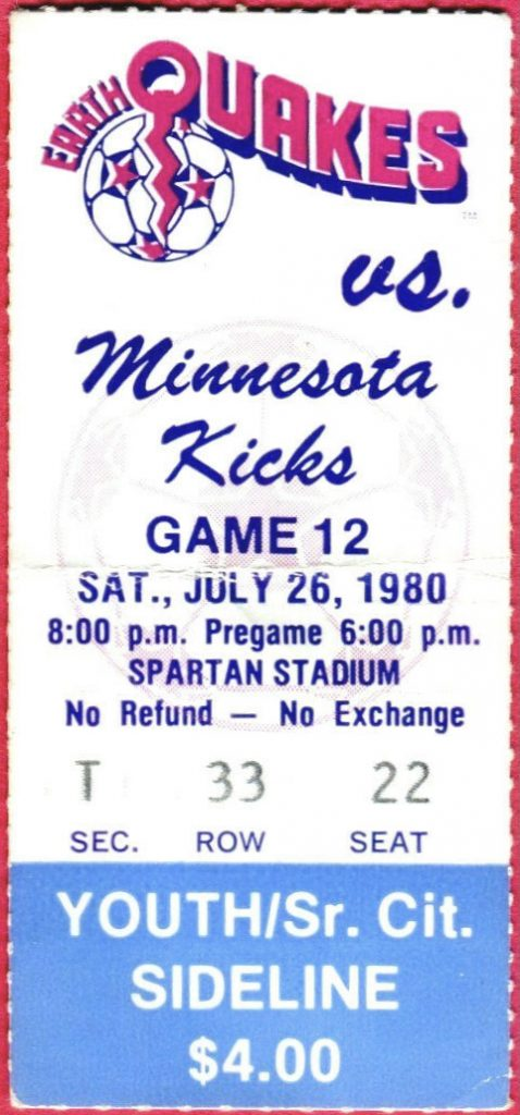 1980 NASL San Jose Earthquakes ticket stub vs Minnesota Kicks