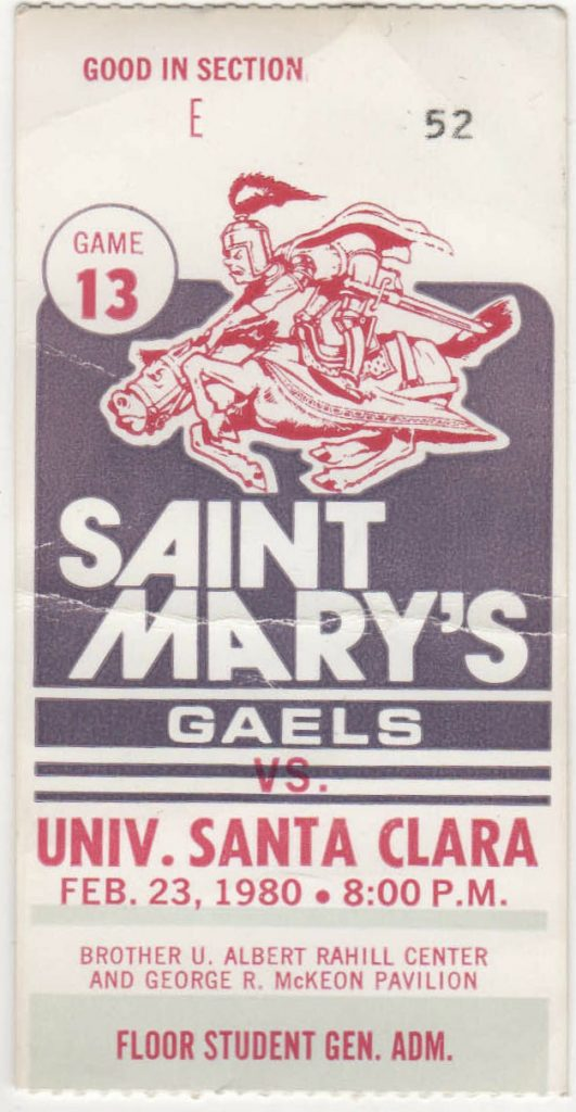 1980 NCAAMB St. Mary's Gaels ticket stub vs Santa Clara