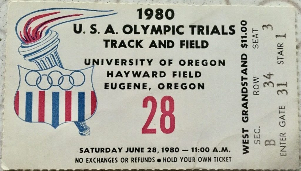 1980 Track and Field Olympic Trials ticket stub
