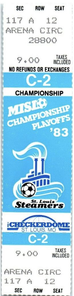 1983 MISI Championship Game 2 St. Louis Steamers Unused Ticket