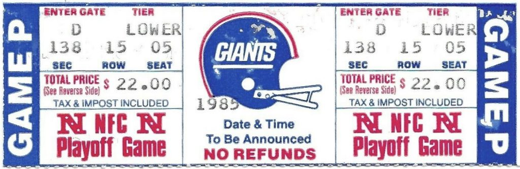 1985 Wild Card Game unused ticket 49ers Giants