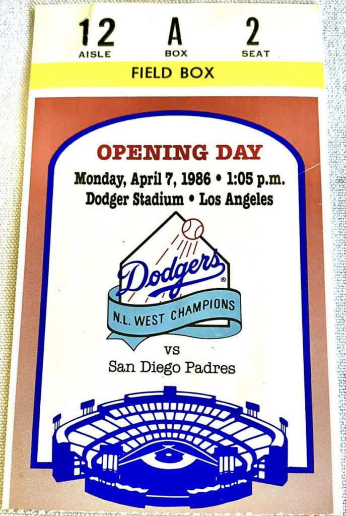 1986 Dodgers Opening Day ticket stub vs Padres
