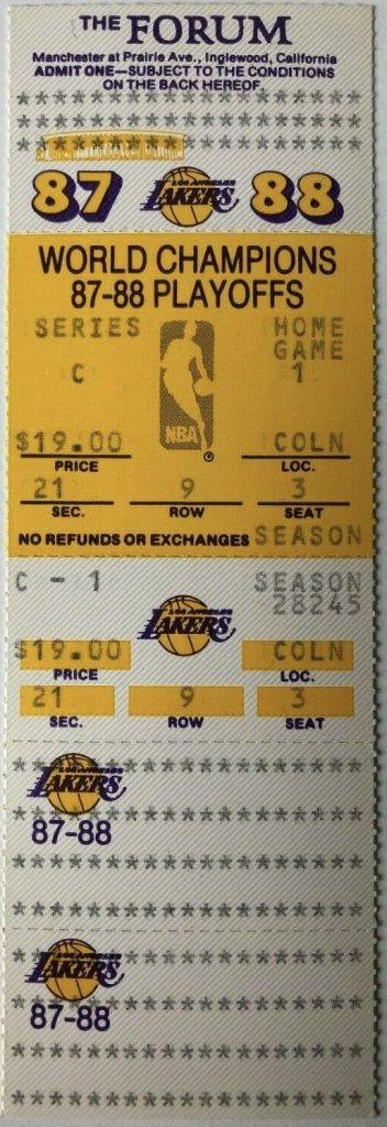 1988 Lakers Conference Finals Game 1 unused ticket vs Mavericks