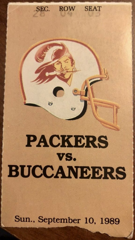 1989 Green Bay Packers ticket stub vs Tampa Bay