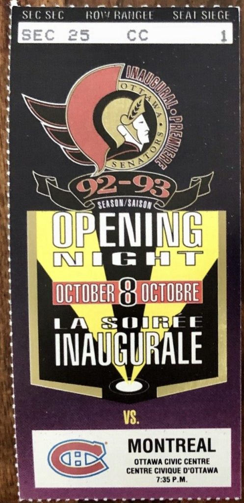 1992 Ottawa Senators Inaugural Game ticket stub vs Montreal