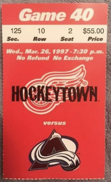 1997 Detroit Red Wings ticket stub vs Avalanche