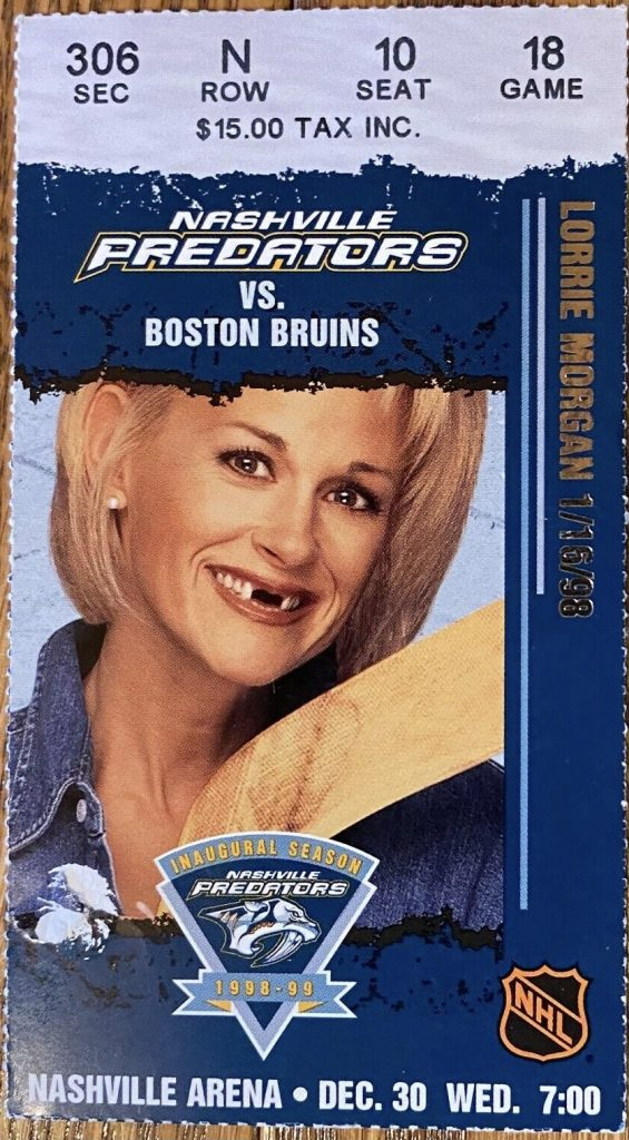 1998 Predators ticket stub vs Bruins Lorrie Morgan