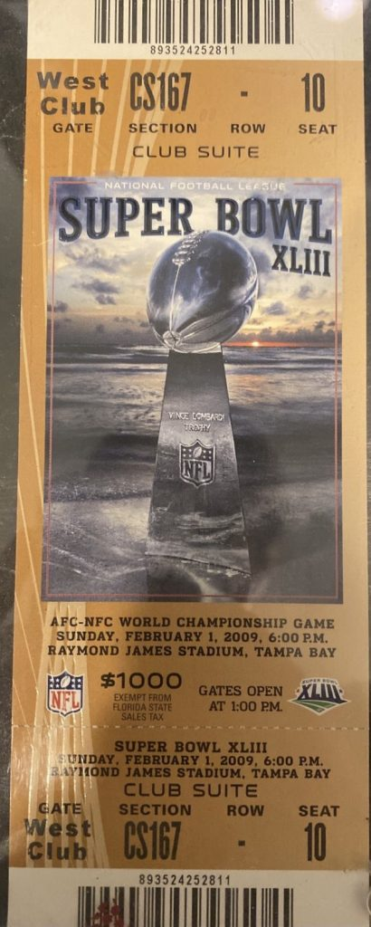 2009 Super Bowl ticket stub Steelers Cardinals Gold West End Club