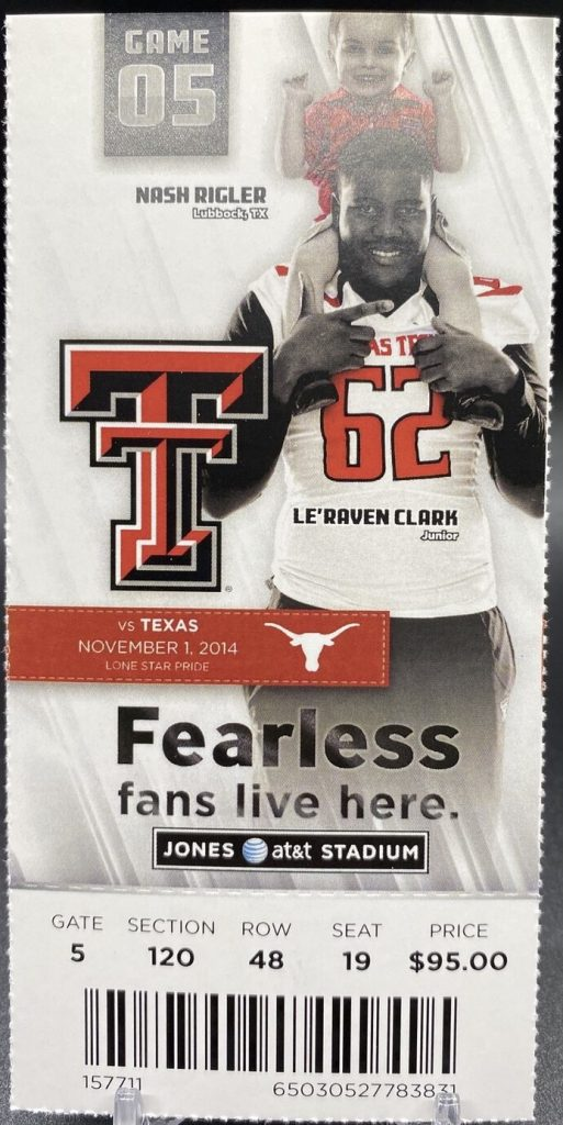 Patrick Mahomes Home College Debut ticket stub