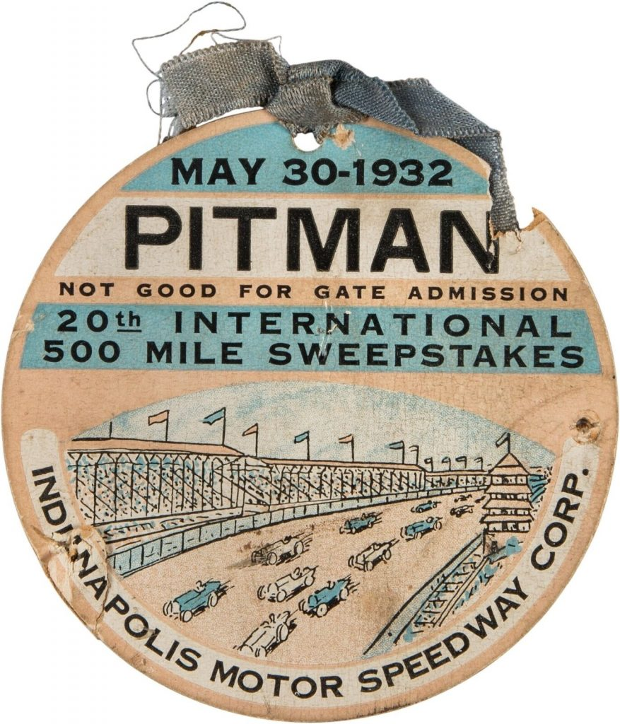 1932 Indianapolis 500 Race Day Pitman Pass