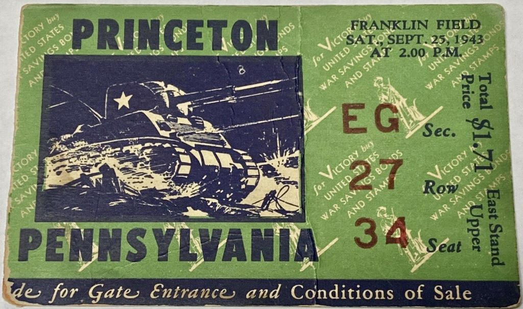 1943 NCAAF Penn Quakers ticket stub vs Princeton