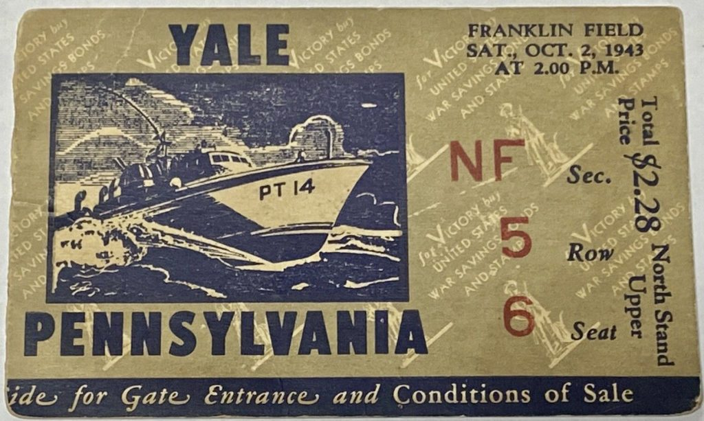 1943 NCAAF Penn Quakers ticket stub vs Yale