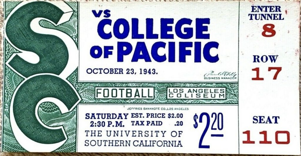 1943 NCAAF USC Trojans ticket stub vs Pacific