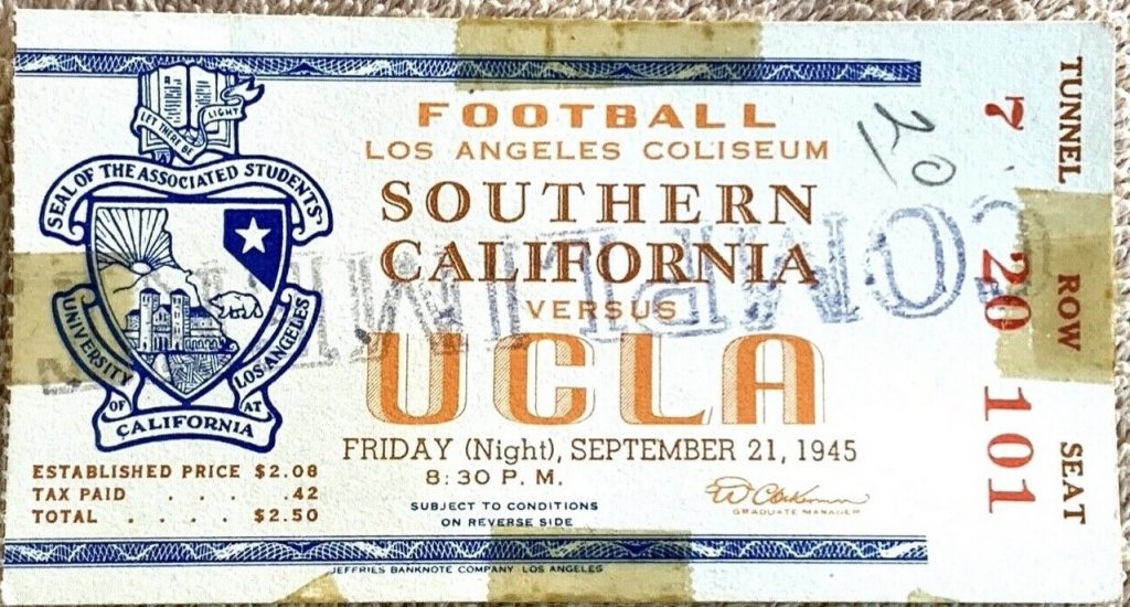 1945 NCAAF UCLA Bruins ticket stub VS USC