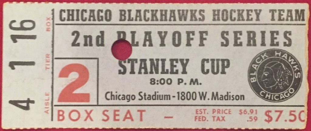 1950s Blackhawks Playoff ticket stub