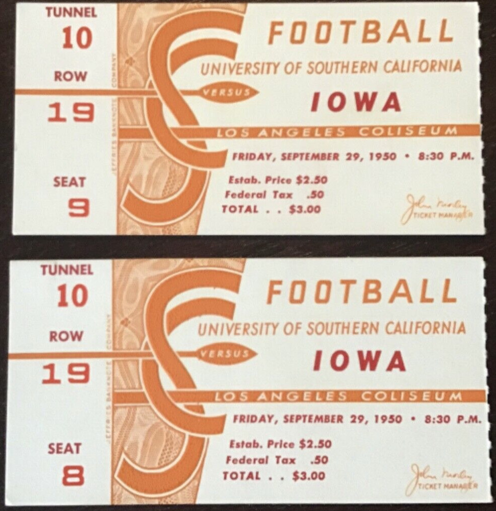 1950 NCAAF USC Trojans ticket stubs vs Iowa