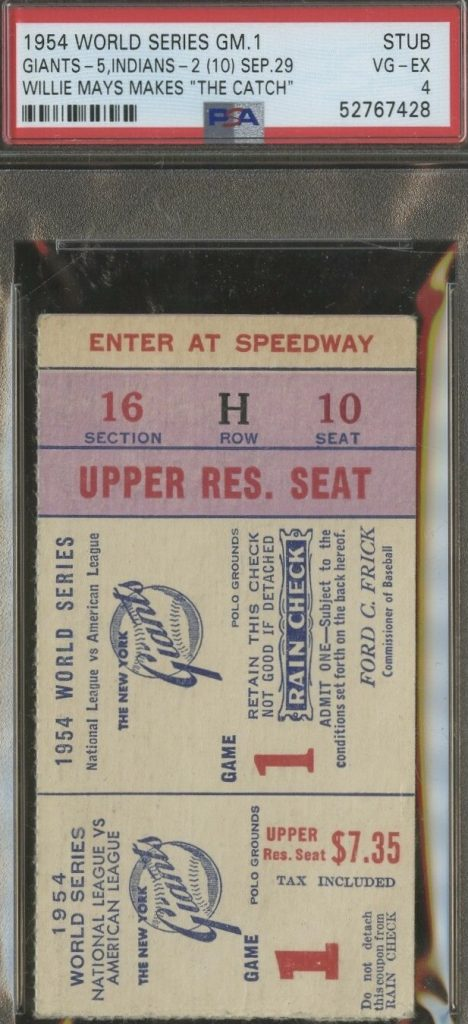 1954 Willie Mays The Catch ticket stub