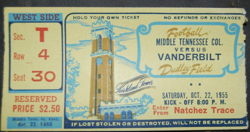 1955 NCAAF Vanderbilt ticket stub vs MTSU