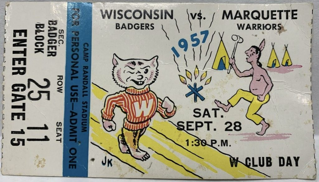 1957 NCAAF Wisconsin Badgers ticket stub vs Marquette
