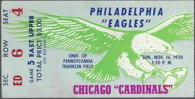 1958 Philadelphia Eagles ticket stub vs Cardinals