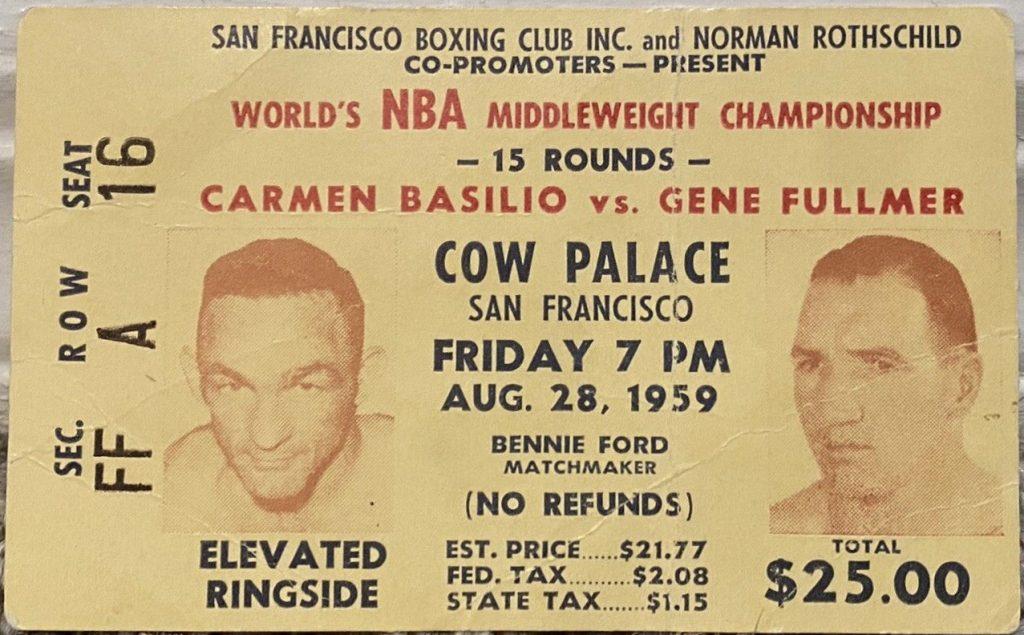 1959 Boxing ticket stub Carmen Basilio vs Gene Fullmer