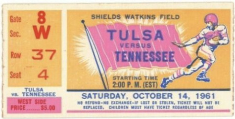 1961 NCAAF Tennessee Vols ticket stub vs Tulsa