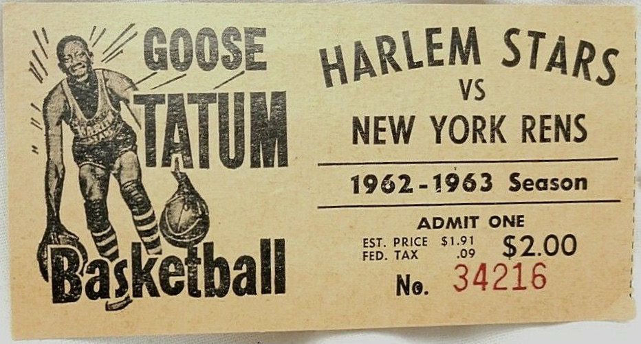 1962 Harlem Stars ticket stub vs New York Rens Goose Tatum