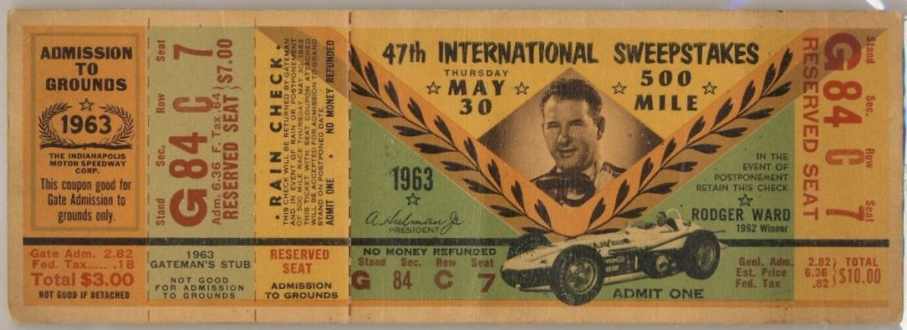 1963 Indianapolis 500 unused ticket