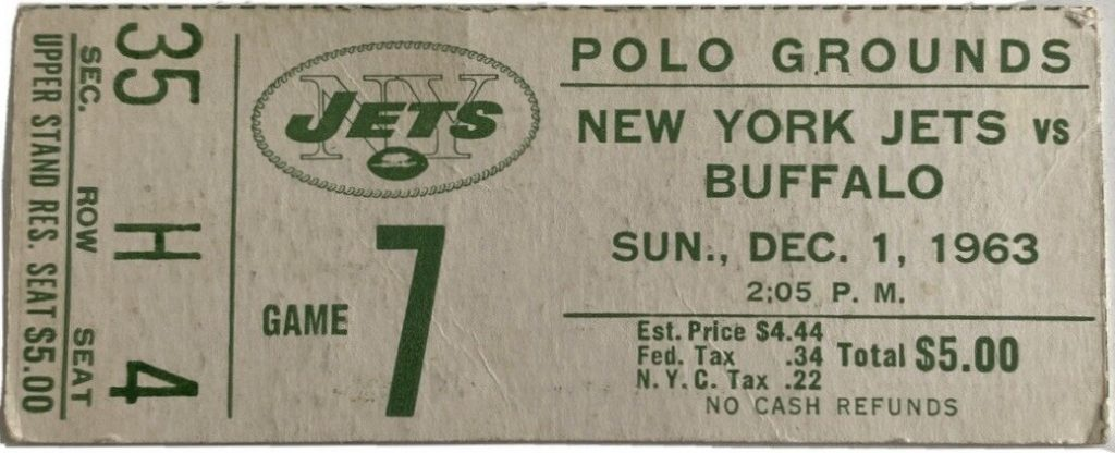 1963 New York Jets ticket stub vs Buffalo Bills