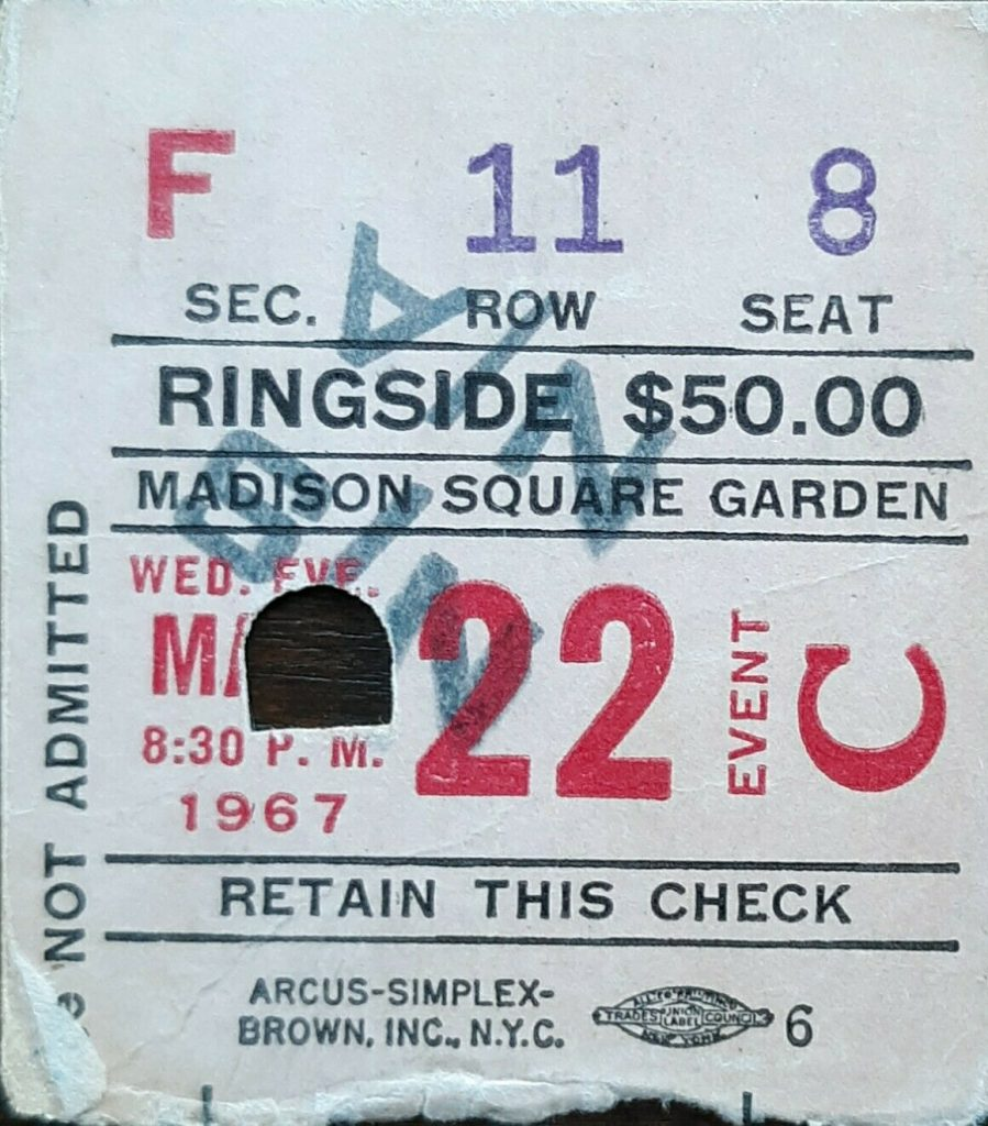 1967 Boxing Muhammad Ali ticket stub vs Zora Folley