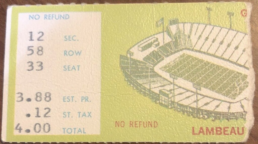 Undated Vintage Green Bay Packers ticket stub
