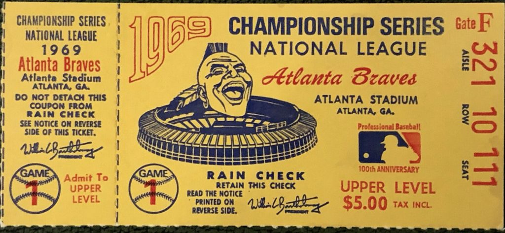 1969 NLCS Game 1 ticket stub Mets Braves