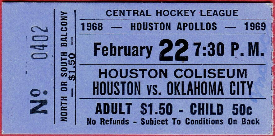 1969 CHL Houston Apollos ticket stub vs Oklahoma City