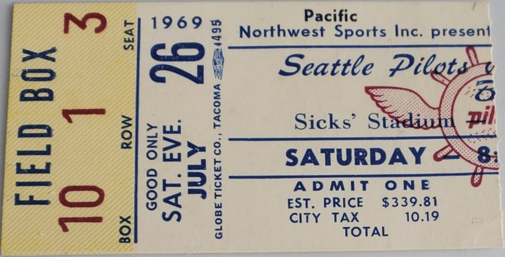 1969 Seattle Pilots ticket stub vs Red Sox Bouton Win