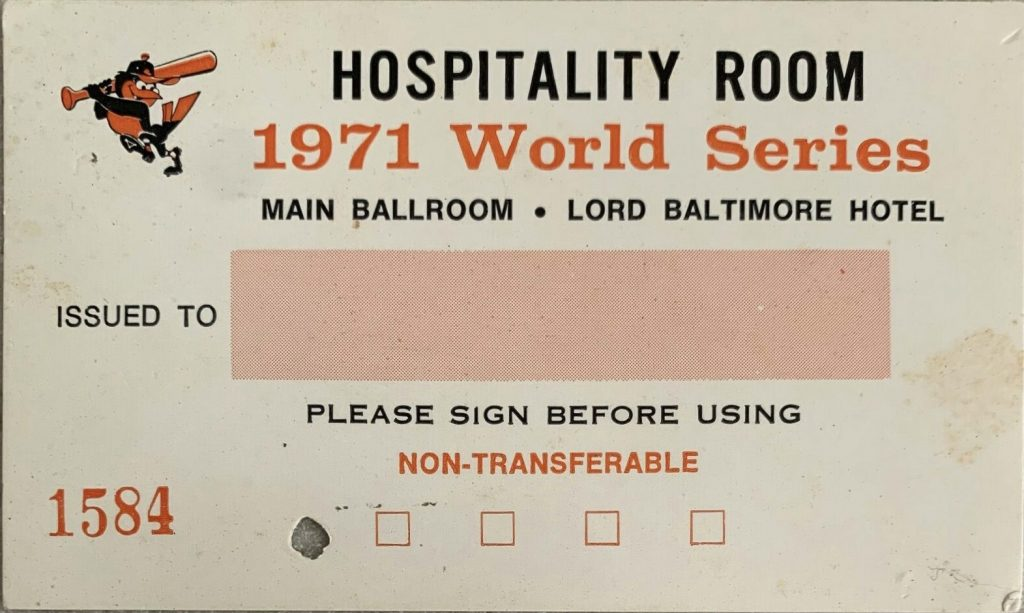 1969 World Series Press Pass Baltimore Orioles Hospitality Room