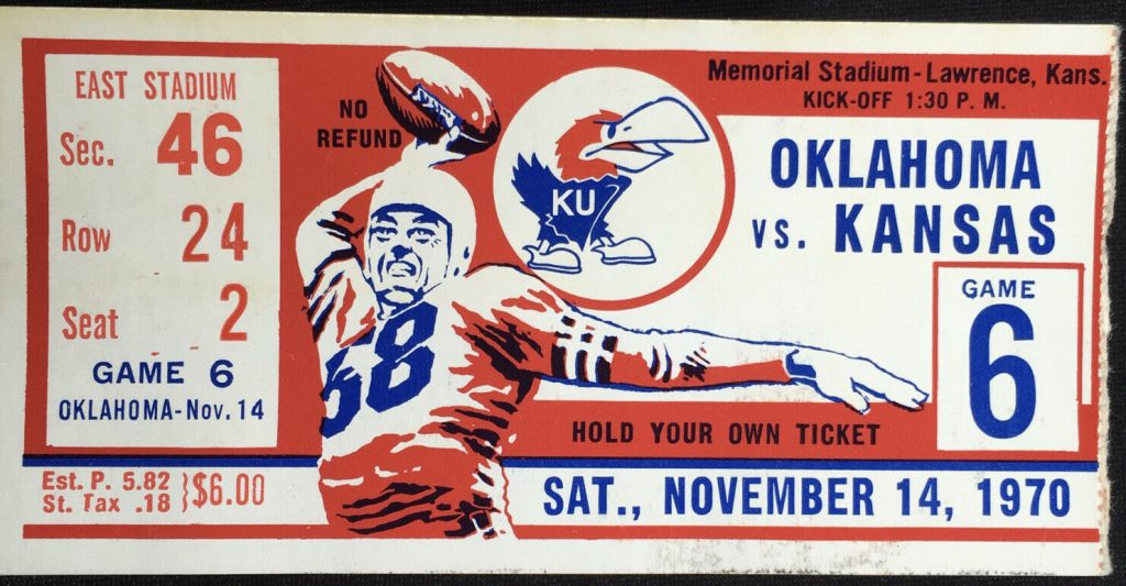 1970 NCAAF Kansas Jayhawks ticket stub vs Oklahoma