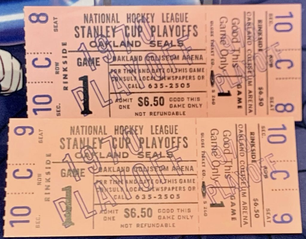 1970 Oakland Seals Playoff ticket stubs vs Penguins