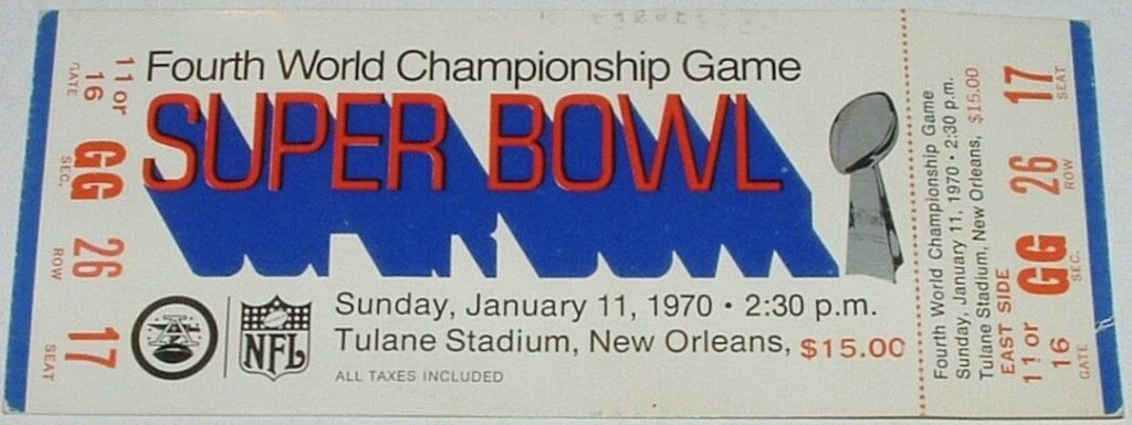 1970 Super Bowl unused ticket