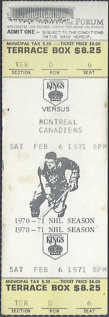 1971 Los Angeles Kings ticket stub vs Montreal