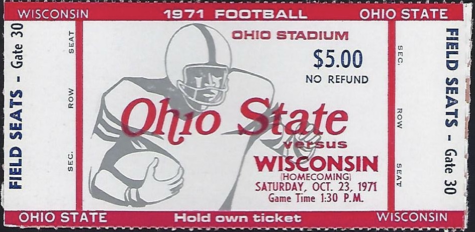 1971 NCAAF Ohio State Buckeyes ticket stub vs Wisconsin
