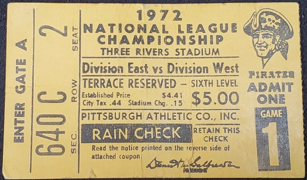 1972 NLCS Game 1 ticket stub Reds Pirates
