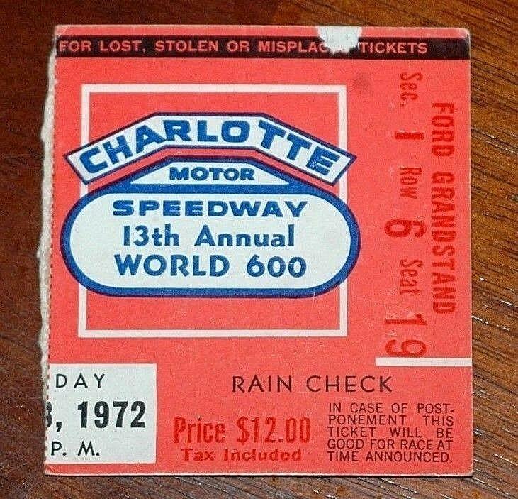 1972 World 600 ticket stub Buddy Baker