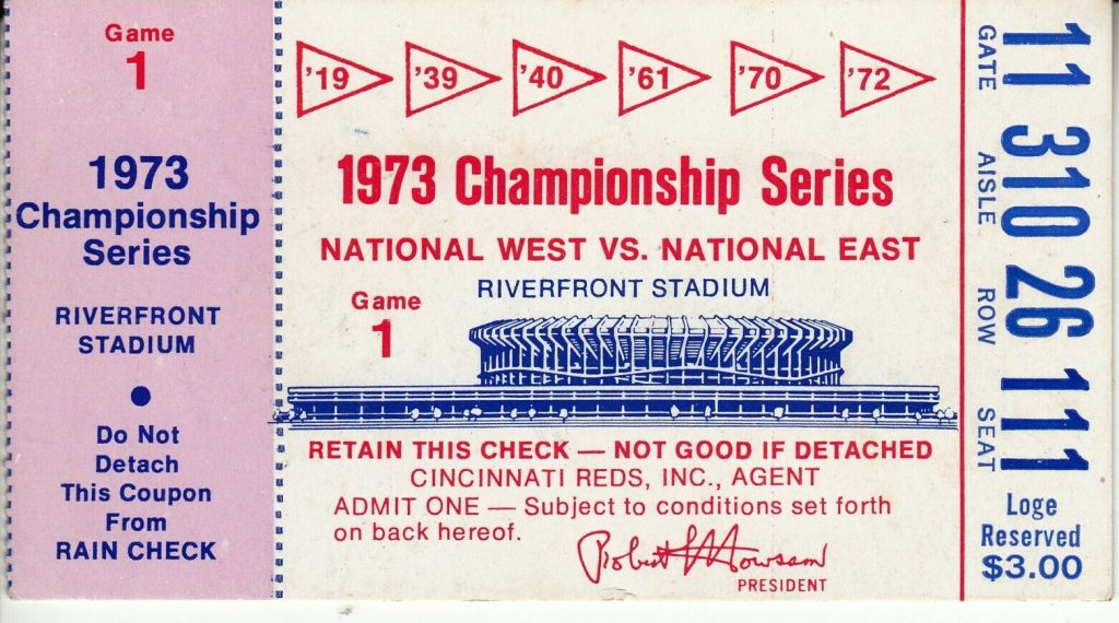 1973 NLCS Game 1 ticket stub Mets Reds